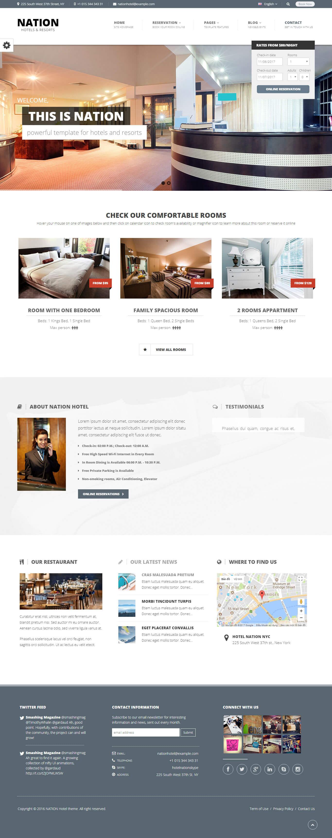 Giao diện website khách sạn hoàn vũ