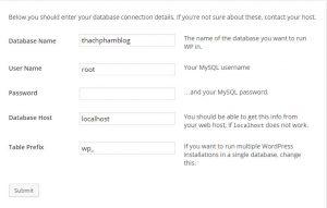 Điền thông tin database