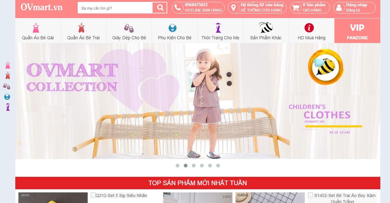 Website mua sắm trực tuyến cho mẹ và bé OVmart
