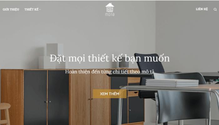 mẫu website thiết kế nội thất của mona