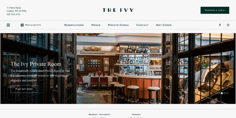 bố cục thiết kế website nhà hàng