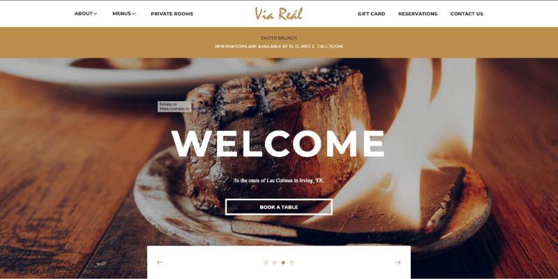 trang chủ web nhà hàng